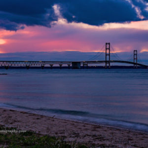 Point North Photography-SUN SETTING AT MACKINAC BRIDGE